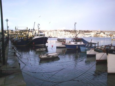 Picture of boats in Plymouth Harbour.